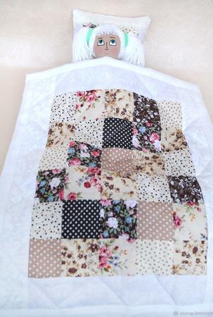 Кукольное одеяло. Коричневый комплект подушка и одеяло. ручной работы на заказ