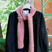 Вязаный шарф шарфик розовый меланж