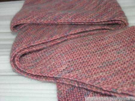 Вязаный шарф шарфик розовый меланж ручной работы на заказ