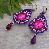 Серьги из бисера со стразами длинные, розовый, фиолетовый
