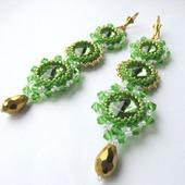 Серьги из бисера со стразами, очень длинные серьги, зеленый