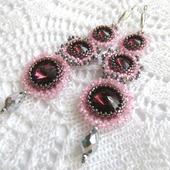 Серьги из бисера со стразами, длинные серьги, розовый, бордовый