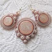 Серьги и брошь, комплект сутажных украшений, персиковый