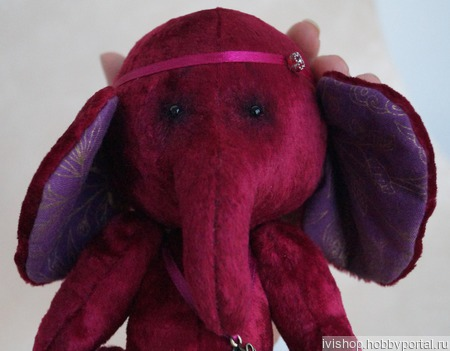 """Тедди слоник """"Малинка"""" ручной работы на заказ"""