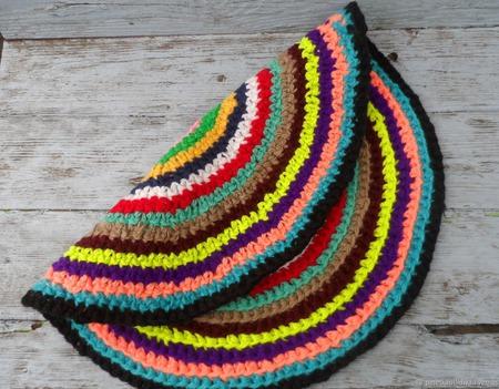 Вязаный коврик Радуга ручной работы на заказ