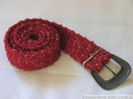 Пояс вязаный красный винтажная пряжкка ручной работы на заказ