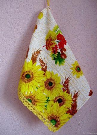 Полотенце вафельное Подсолнухи ручной работы на заказ