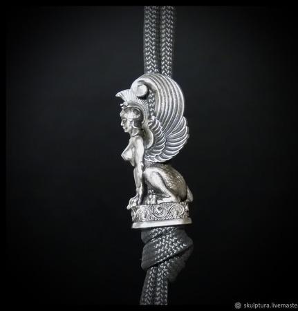 """Бусина """"Сфинкс"""" для темляков или браслетов белый металл ручной работы на заказ"""