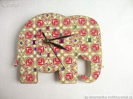 """Часы настенные в детскую """"Слон индийский"""" ручной работы на заказ"""
