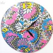 Часы большие настенные круглые Серебряная птица счастья