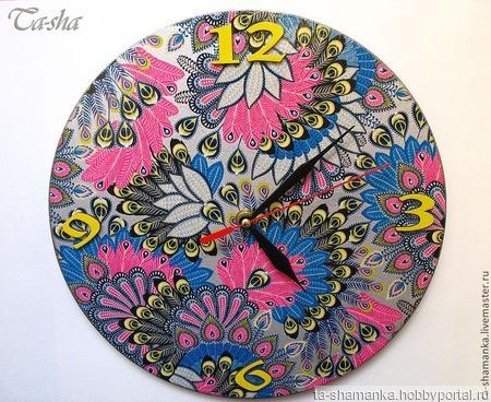 Часы большие настенные круглые Серебряная птица счастья ручной работы на заказ