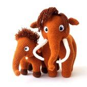 Мамонты вязаные семья   (вязаные игрушки мамонты/мамонтята) в подарок