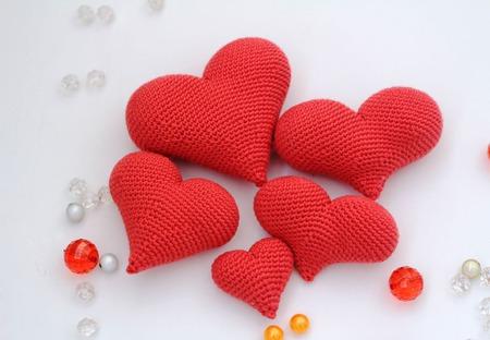 """Сердце вязаное, вязаные сердечки, набор сердец """"Валентинка"""" ручной работы на заказ"""