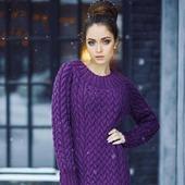 Купить длинное вязаное платье ручной работы