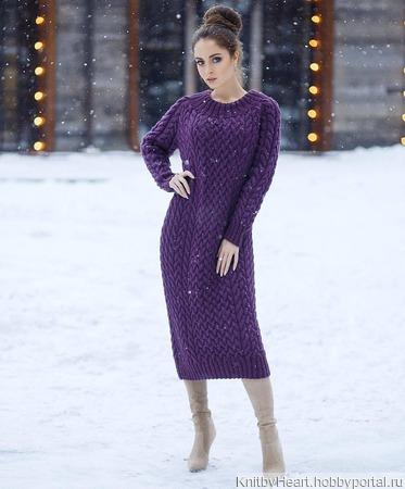 Купить длинное вязаное платье ручной работы ручной работы на заказ