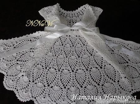 Крестильное нарядное платье для девочки крючком ручной работы на заказ