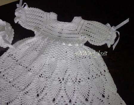 """Крестильное платье крючком с рукавами """"Бусинка"""" ручной работы на заказ"""