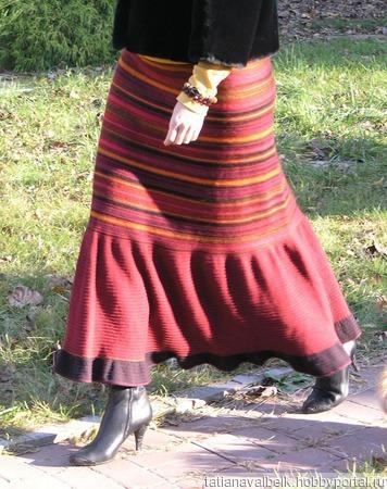 вязаная юбка длинная теплая барыня боярыня годе купить в