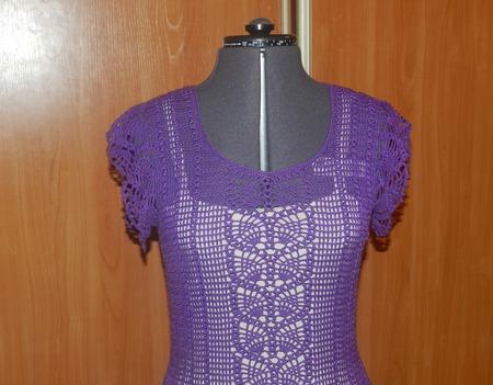 Платье из хлопка Сирень ручной работы на заказ
