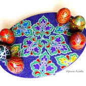 Пасхальная подставка точечная роспись цветочная