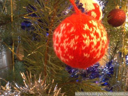Вязанный новогодний шар ручной работы на заказ