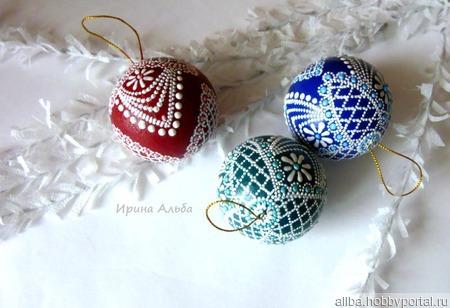 Елочные шары точечная роспись небьющиеся ручной работы на заказ