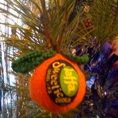 Вязанный новогодний шар Мандаринка