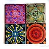 Декоративная плитка-ключница панно вешалка точечная роспись