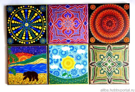 Декоративная плитка-ключница панно вешалка точечная роспись ручной работы на заказ