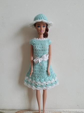 Бирюзово-белое платьице и шляпка для Барби ручной работы на заказ