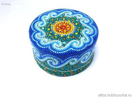 Шкатулка У самого синего моря, точечная роспись ручной работы на заказ