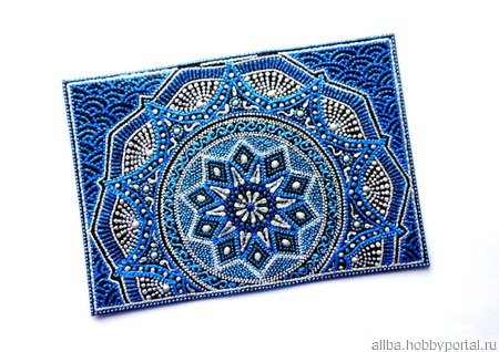 """Обложка на паспорт """"Голубой лед"""" точечная роспись ручной работы на заказ"""
