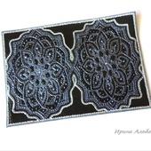 Кожаная обложка на документы Черный цветок точечная роспись