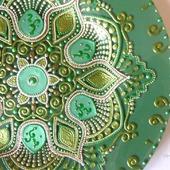Тарелка Малахитовый цветок точечная роспись