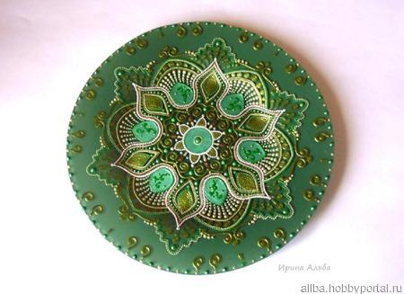 Тарелка Малахитовый цветок точечная роспись ручной работы на заказ