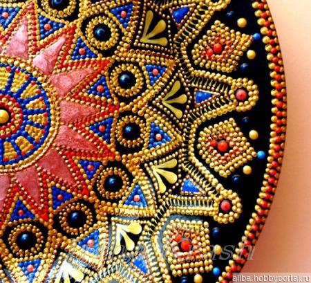 Тарелка-мандала точечная роспись Цветок мечты ручной работы на заказ