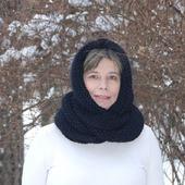 """Очень теплый снуд-шарф черный """"Вороново крыло"""" (шерсть)"""