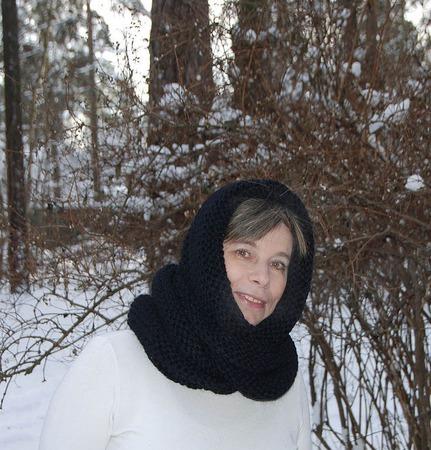 """Очень теплый снуд-шарф черный """"Вороново крыло"""" (шерсть) ручной работы на заказ"""