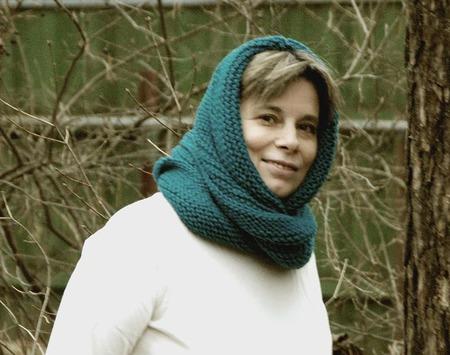 """Снуд-шарф сине-зеленый """"Мурена"""" (полушерсть) ручной работы на заказ"""