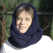 """Снуд-шарф темно-синий  """"Тихий вечер"""" (полушерсть)"""
