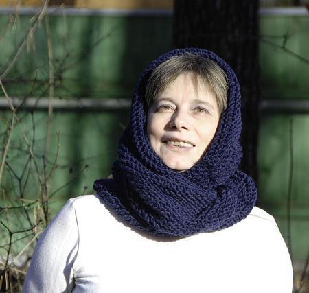 """Снуд-шарф темно-синий  """"Тихий вечер"""" (полушерсть) ручной работы на заказ"""