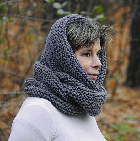"""Снуд-шарф серый """"Мистика"""" (полушерсть) ручной работы на заказ"""