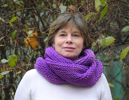 """Снуд-шарф фиолетовый  """"Флокс"""" ( полушерсть) ручной работы на заказ"""