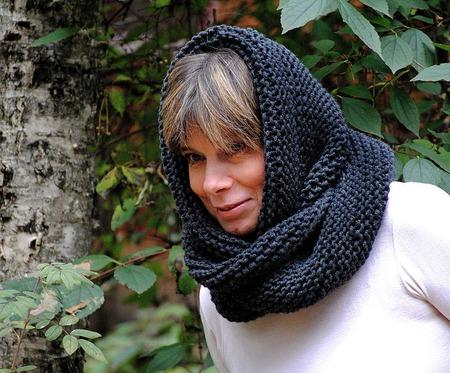 """Снуд-шарф  темно-серый """"Безвременье"""" (полушерсть) ручной работы на заказ"""