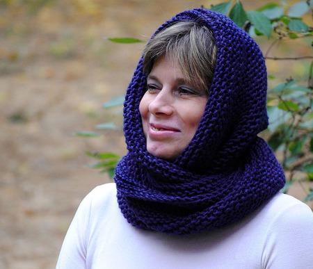 """Снуд- шарф  """"Черничка"""" (полушерсть) ручной работы на заказ"""