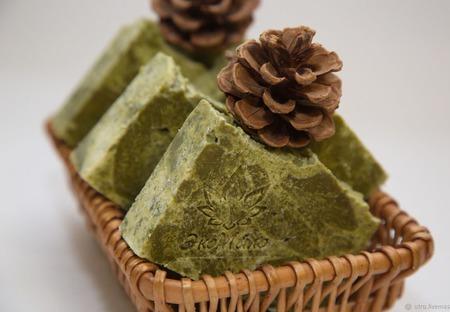 """Натуральное мыло """"Хвойный лес"""" с хлорофилло-каротиновой пастой ручной работы на заказ"""