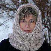 "Очень теплый снуд-шарф "" Жемчуг "" (шерсть)"