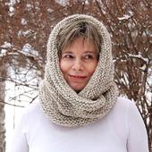"""Снуд-шарф  """"Оттепель"""" (шерсть-серо-белый меланж)"""