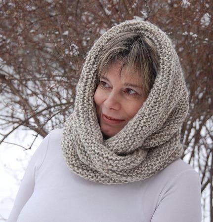 """Снуд-шарф  """"Оттепель"""" (шерсть-серо-белый меланж) ручной работы на заказ"""