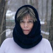 """Снуд-шарф темно-синий  """"Черное море"""" (шерсть)"""